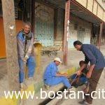 رفع مشکل جوبهای بازاروکوچه فرعی خیابان تربیت بدنی توسط واحدزحمت کش خدمات وموتوری