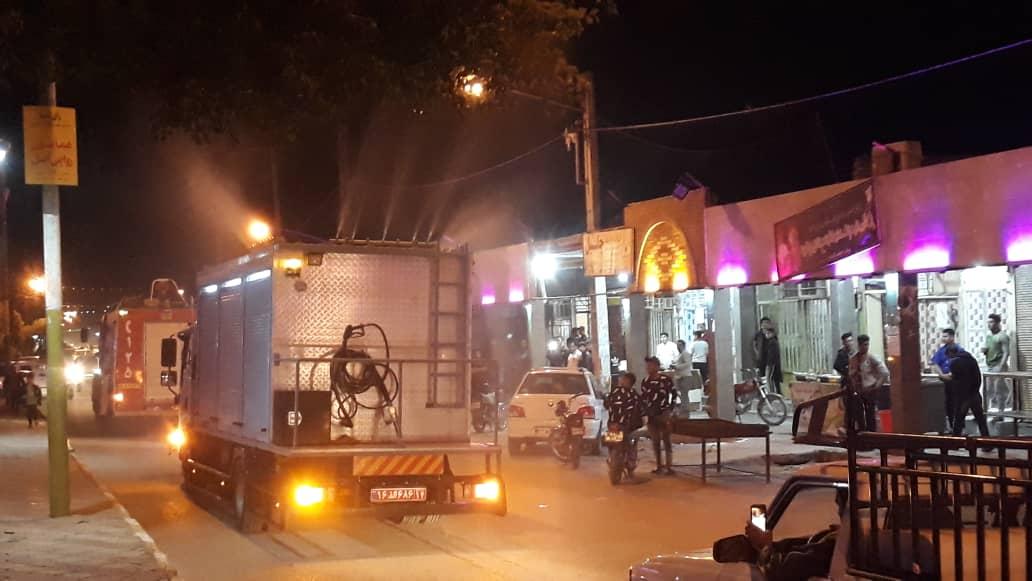 گزارش تصویری از عملیات گند زدایی و ضدعفونی کردن شهر بستان